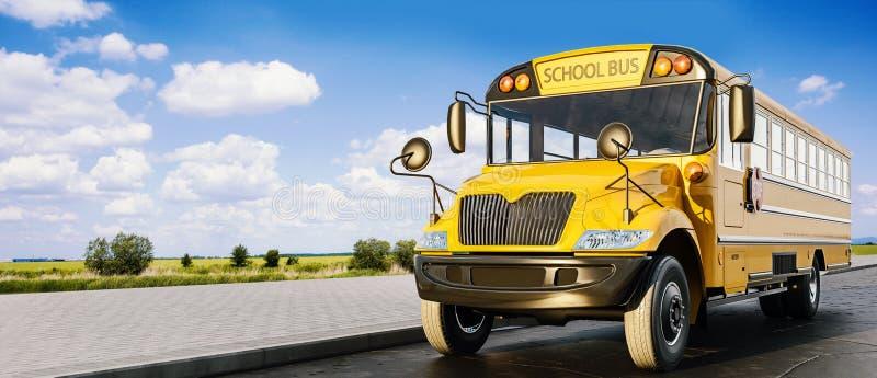学校班车驾驶在路的,回到的概念学校,美好的好日子 库存例证