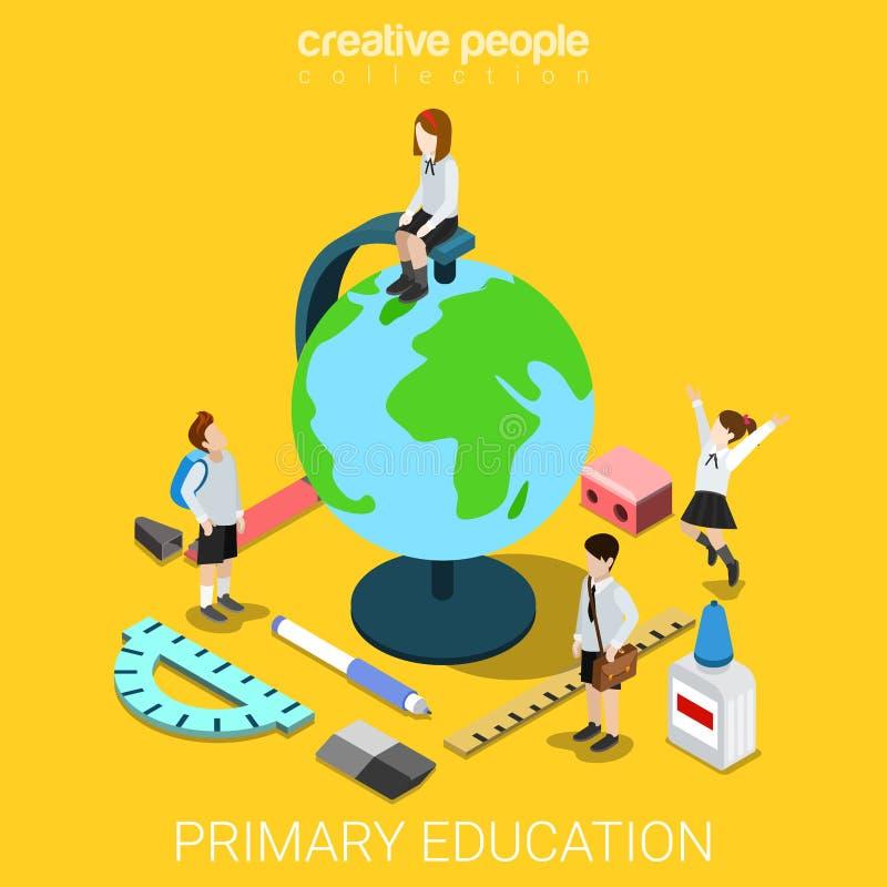 学校生活地理教育地球平的3d等量传染媒介 库存例证