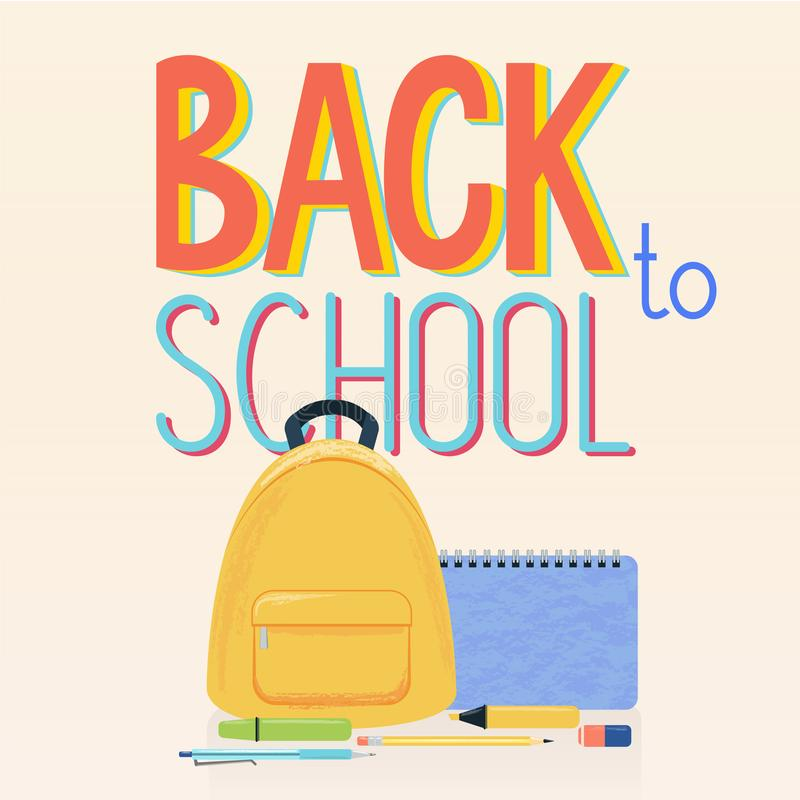 学校用品、黄色背包和标志回到学校背景的 库存例证