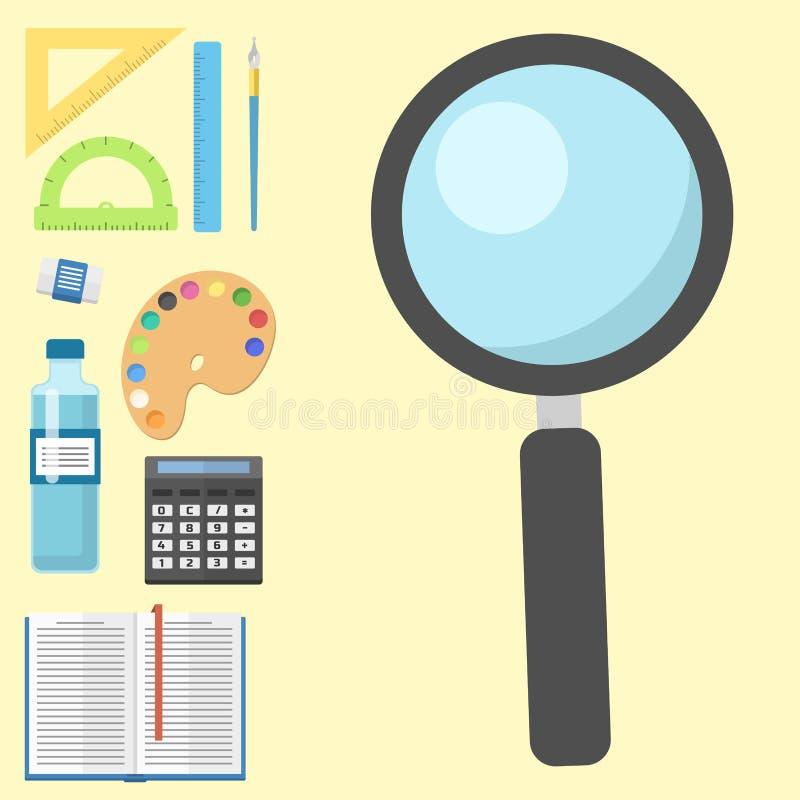学校用品儿童固定式教育辅助学生笔记本传染媒介例证 向量例证