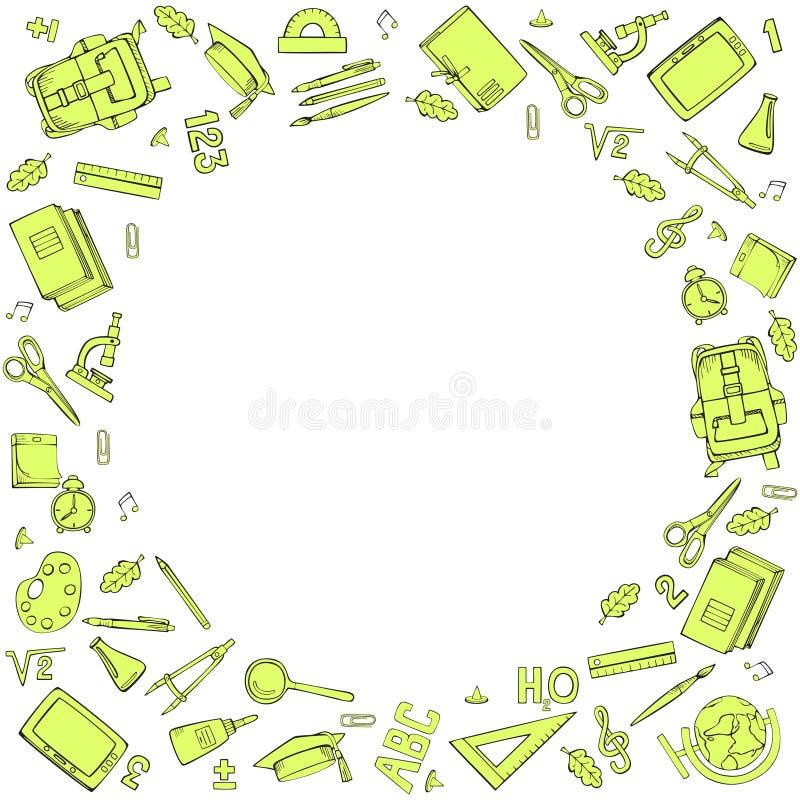 学校用品圆的框架  r 线性乱画 库存例证
