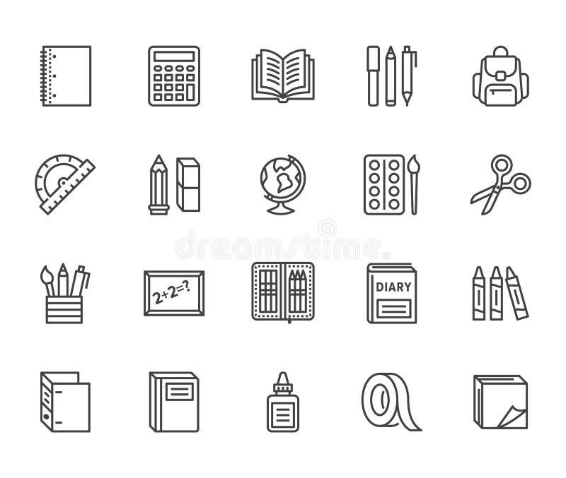 学校用品平的线象集合 研究工具-地球,计算器,书,铅笔,剪刀,统治者,笔记本传染媒介 库存例证