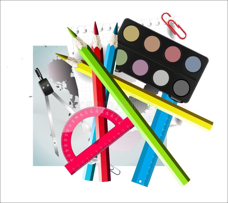 学校用品纸和板料与墨水斑点 库存例证