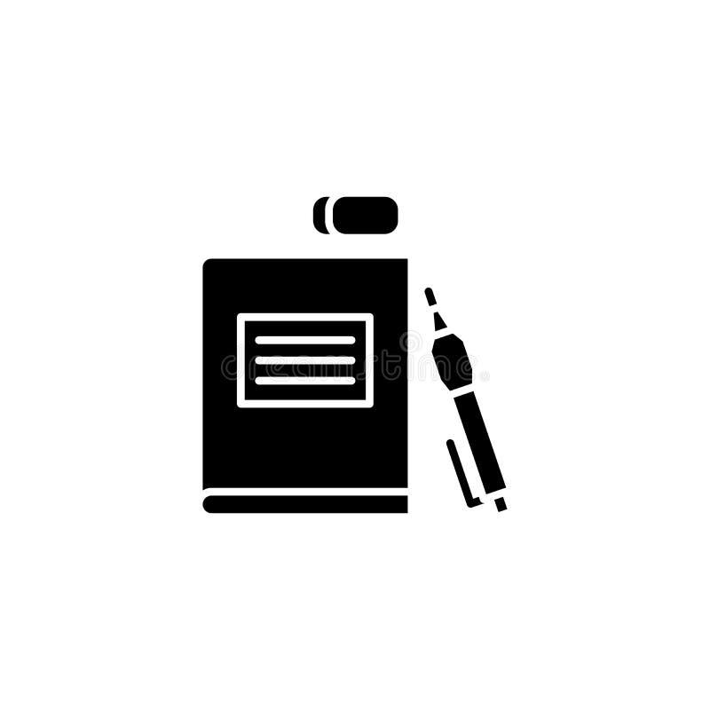 学校用品黑象概念 学校用品平的传染媒介标志,标志,例证 向量例证