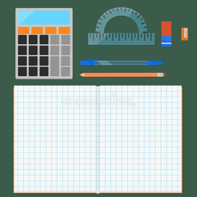 学校用品,平的集合 库存例证