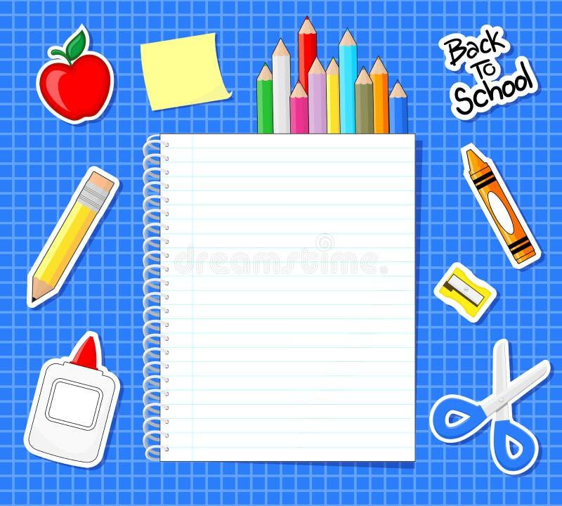 学校用品贴纸 向量例证