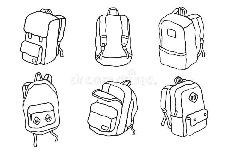 学校背包传染媒介街道背包旅行背包例证集合 库存例证