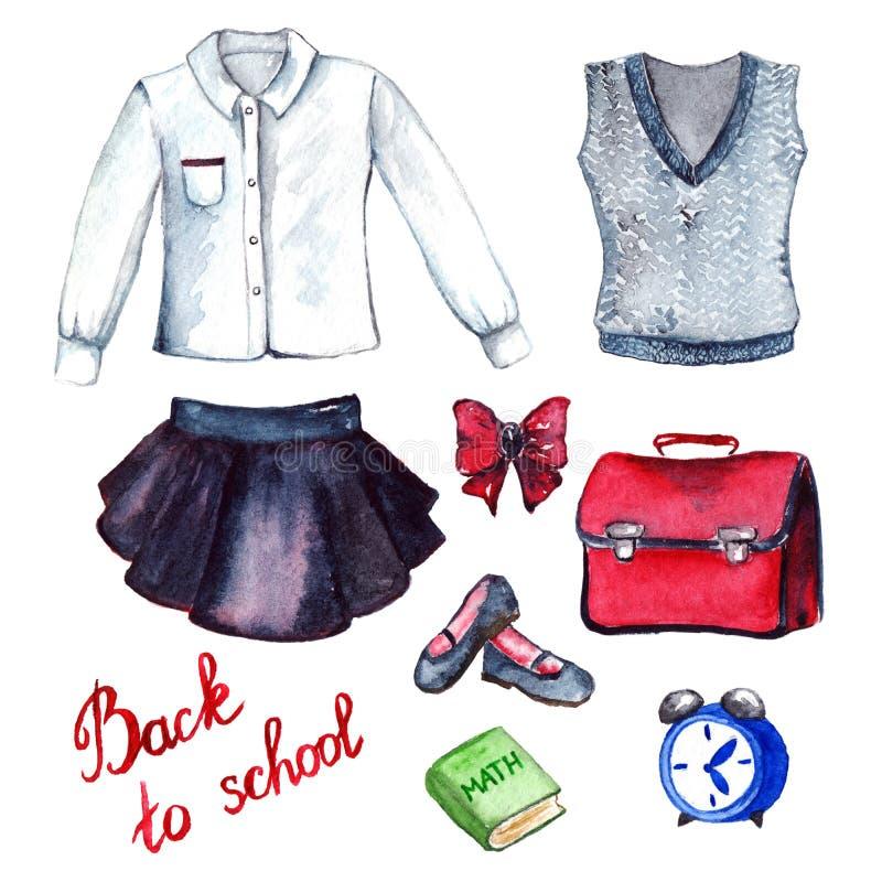 学校衣裳学生一致的形式时尚神色集合 皇族释放例证