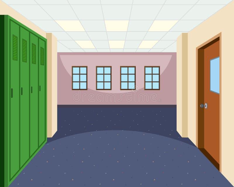 学校走廊内部场面 向量例证