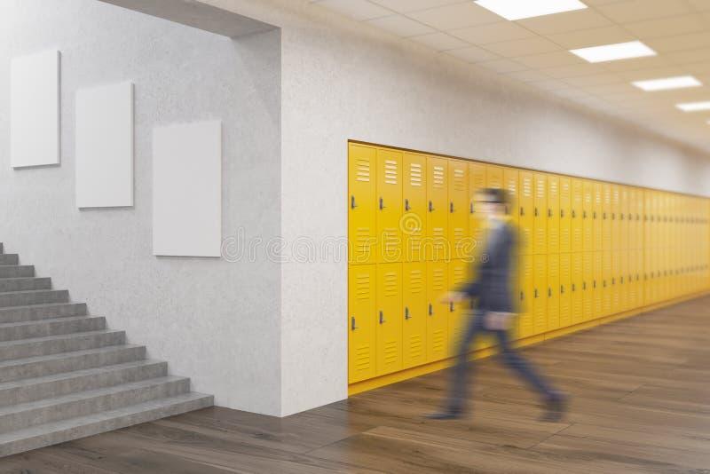 学校走廊的老师 向量例证