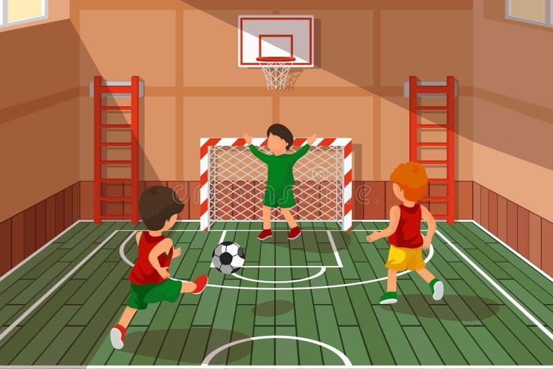 学校足球赛 踢足球,传染媒介例证的孩子 皇族释放例证