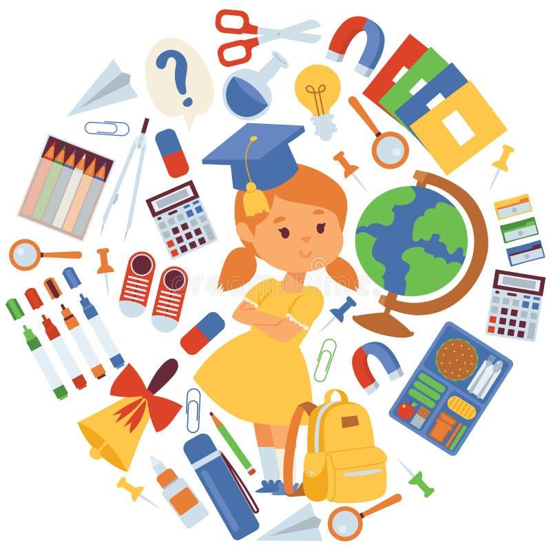 学校项目例证 有背包供应的女孩,地球,剪刀,习字簿,铅笔,橡胶,计算器,响铃 向量例证