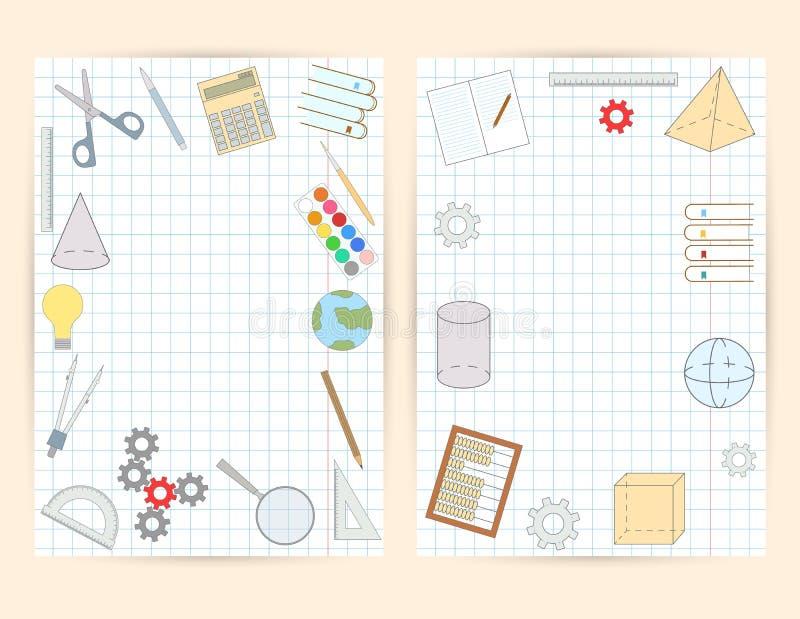 学校飞行物 笔记本的盖子 库存例证