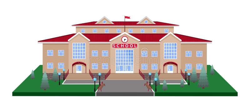 学校,在方形的草坪平台的经典轻的米黄砖瓦房有有3D作用的路的 向量例证
