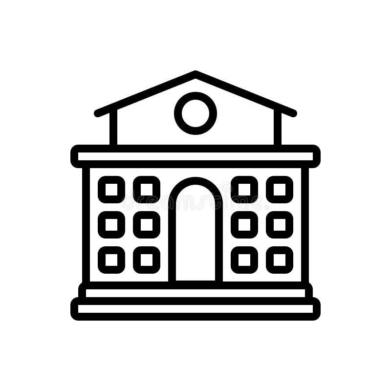 学校,大厦和主要的黑线象 皇族释放例证