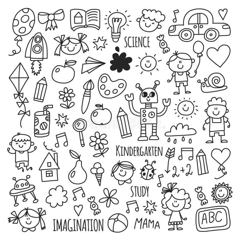 学校,幼儿园 愉快的子项 创造性,想象力与孩子的乱画象 戏剧,研究,生长愉快的学生 皇族释放例证