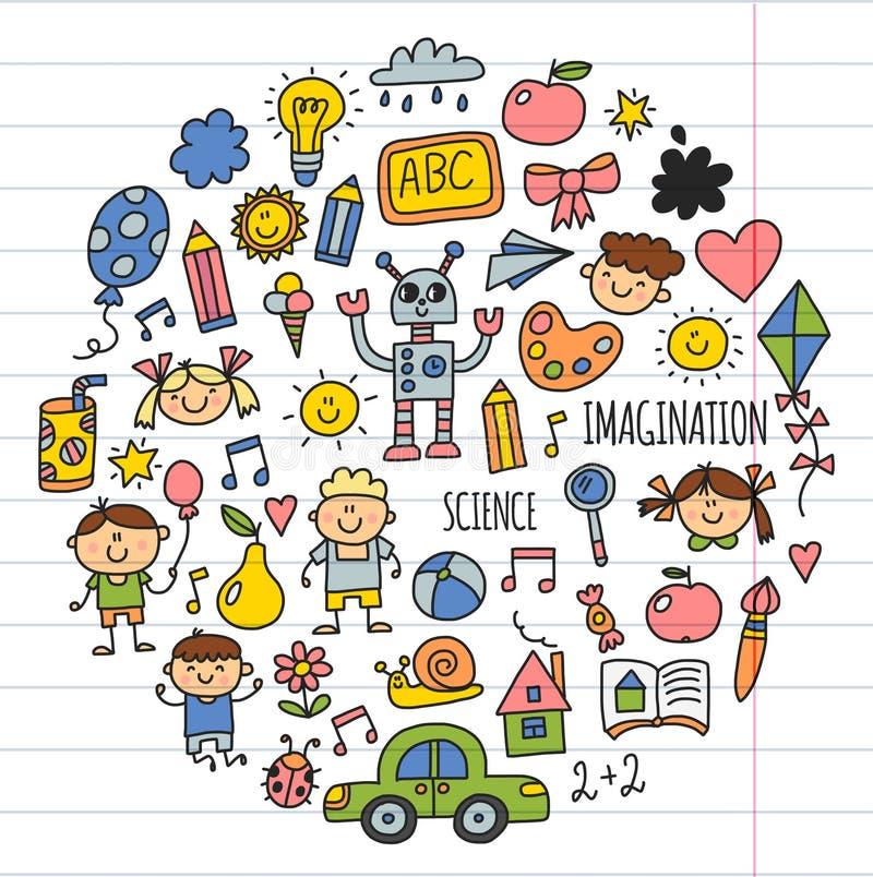 学校,幼儿园 愉快的子项 创造性,想象力与孩子的乱画象 戏剧,研究,生长愉快的学生 向量例证