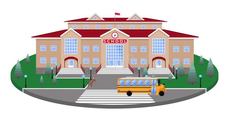 学校,经典轻的米黄砖瓦房草坪的圆平台路的,行人交叉路,与3D作用sectio 皇族释放例证