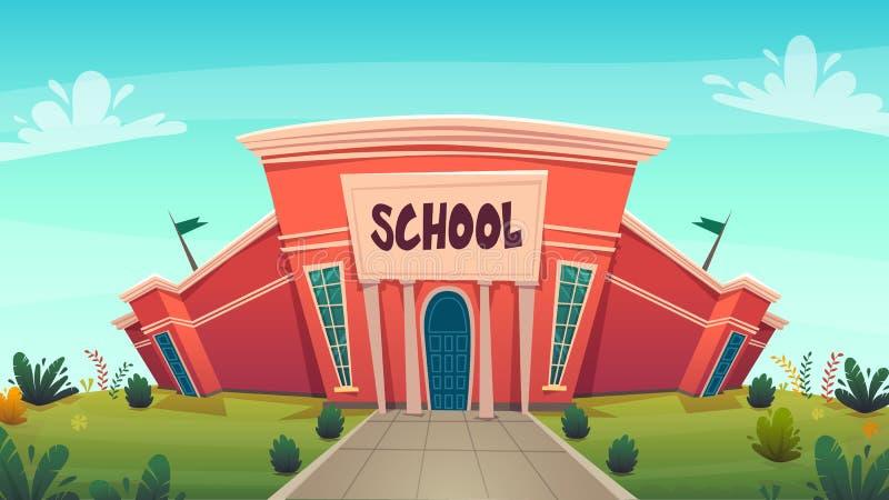学校 天知识滑稽的动画片背景,在红色绿色明亮的颜色的温暖的秋天教育卡片盖子与清楚的蓝色 库存例证