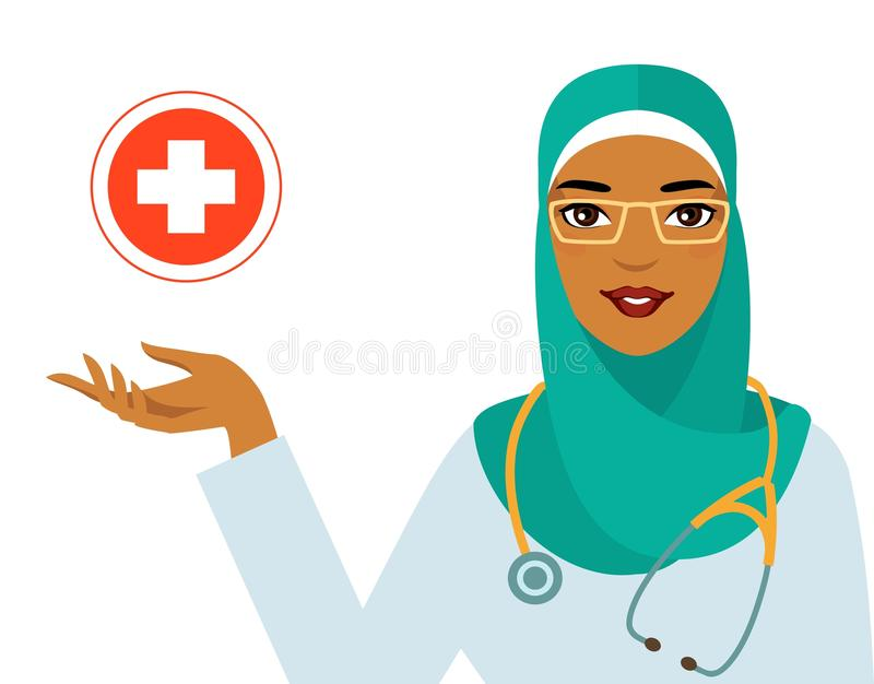 医学概念-在白色背景隔绝的回教阿拉伯妇女医生 向量例证