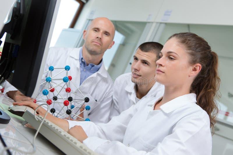 学生与计算机一起使用在实验室 免版税库存图片