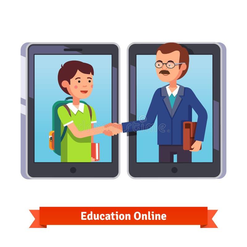 学生和老师谈话通过录影电话 向量例证