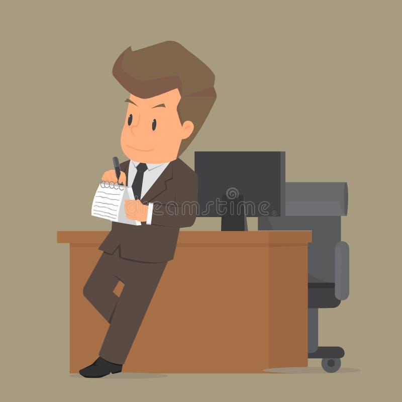 学生商人打算工作,写下信息 向量例证