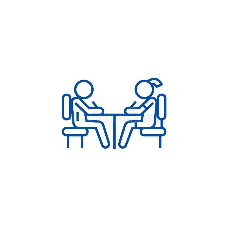 学生在书桌线的象概念学校 学生在书桌平的传染媒介标志的,标志,概述例证学校 向量例证