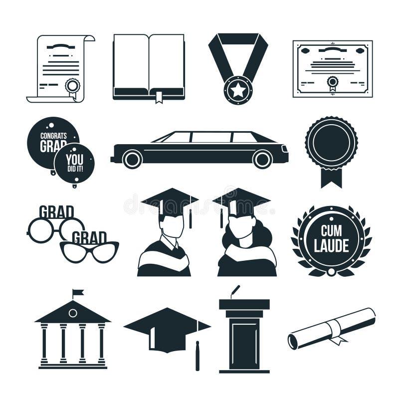 学生在单色样式的毕业晚会 被设置的黑传染媒介象 向量例证