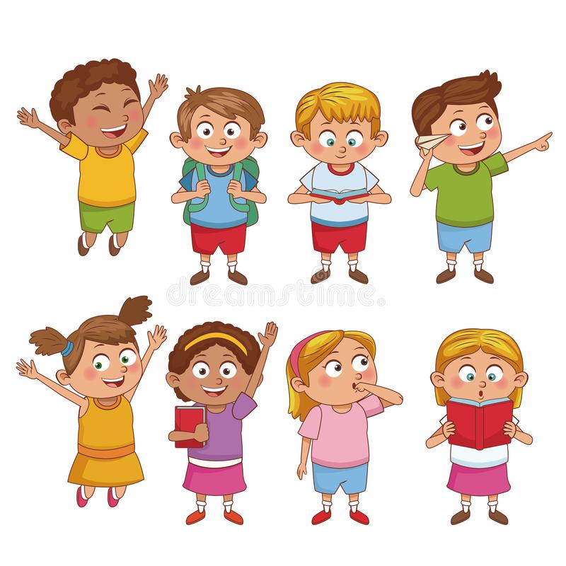 学生孩子动画片 向量例证