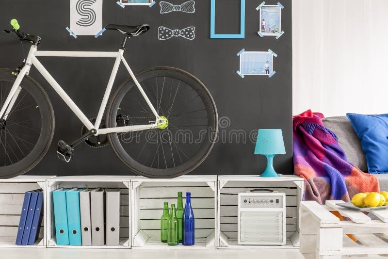 学生平与自行车 免版税库存照片
