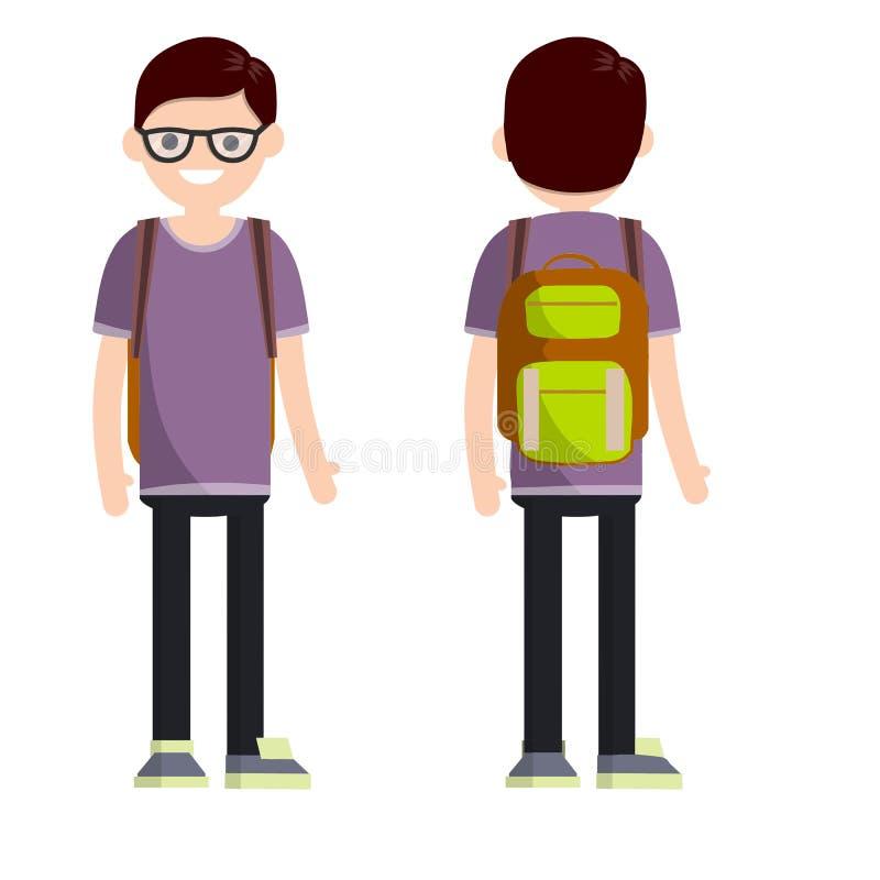 学生年轻书呆子人的类型有双方的 库存例证