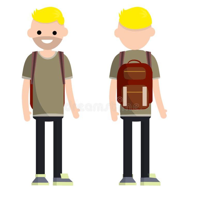 学生年轻胡子人的类型有双方的 皇族释放例证