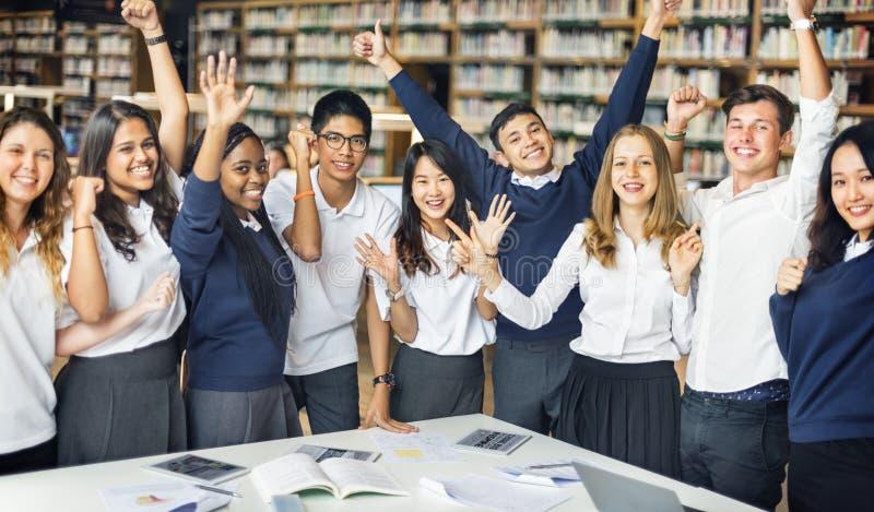 学生数字式学习概念的教育图书馆 库存照片