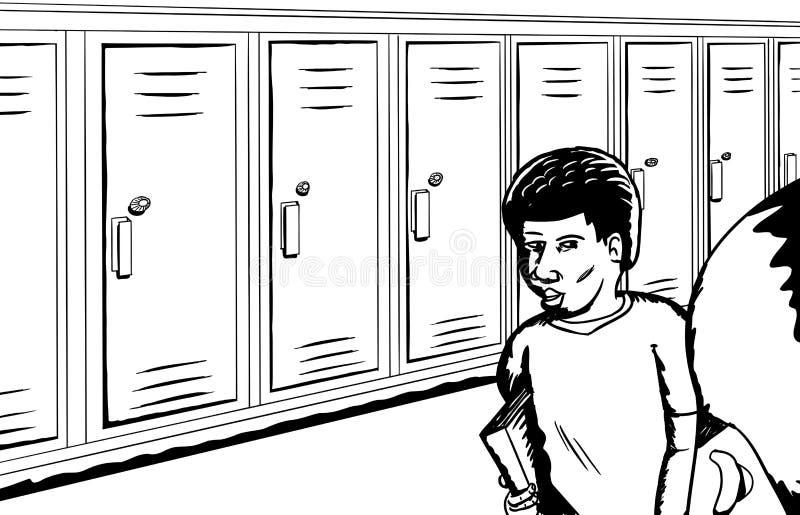 学生概述临近衣物柜 向量例证