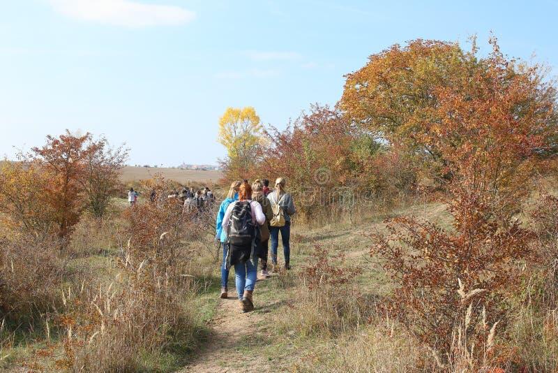 学生游览,Traviny自然保护 免版税库存照片