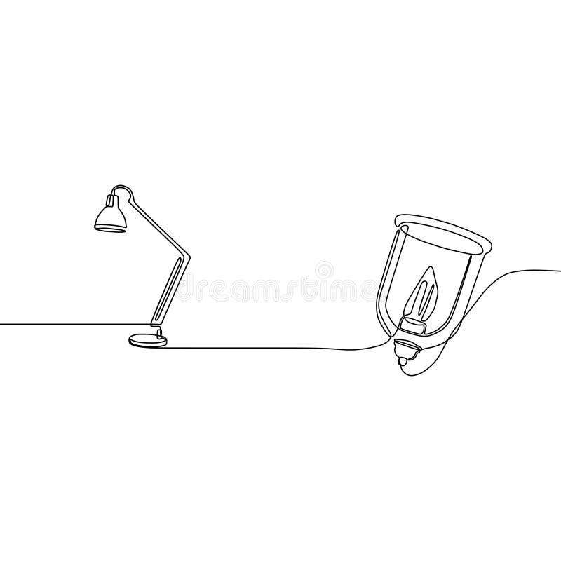 学生灯和蜡烛灯一线实线站立装饰的落地灯点燃 向量例证