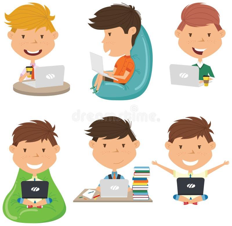 学生用计算机学会并且做家庭作业 免版税图库摄影
