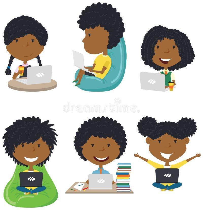 学生用计算机学会并且做家庭作业 库存图片
