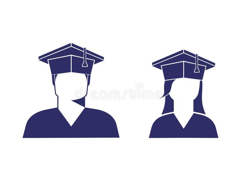 学生象一个男孩和一个女孩一个毕业生盖帽的,黑白照片 库存例证