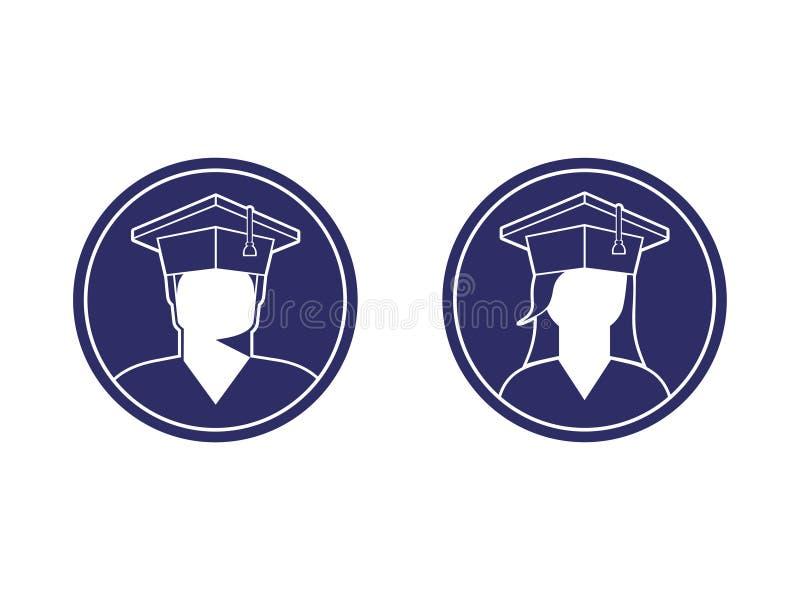 学生象一个男孩和一个女孩一个毕业生盖帽的,黑白照片 向量例证