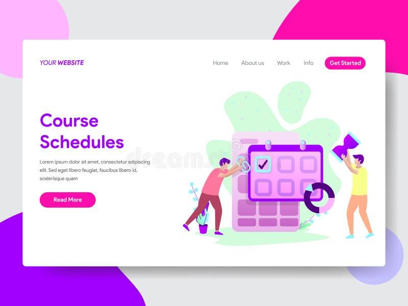 学生路线日程表例证概念登陆的页模板  网页设计的现代平的设计观念网站的 皇族释放例证