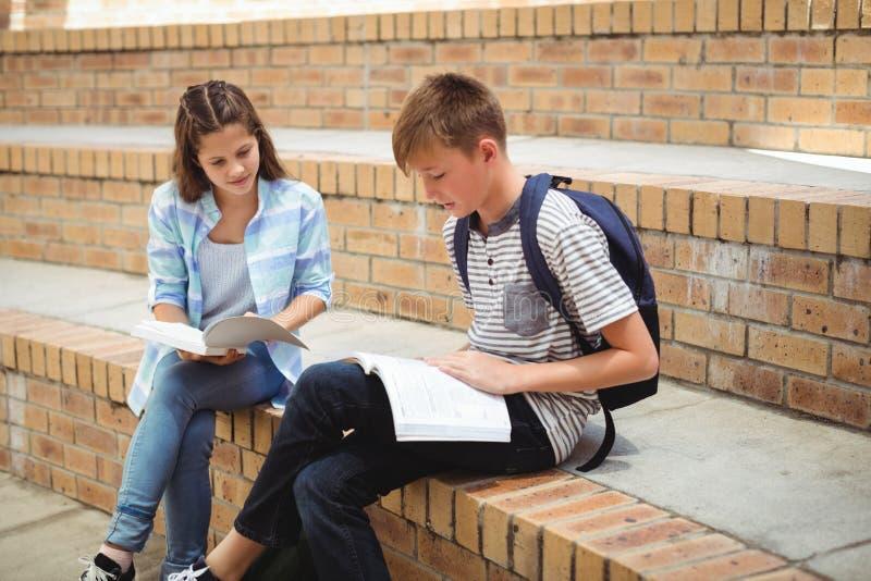学生阅读书在校园里 库存照片