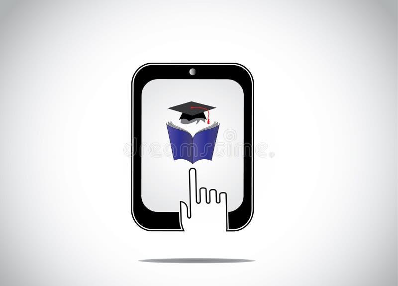 年轻学生阅读书象与毕业盖帽的在片剂和一只白色手现出轮廓接触 库存例证