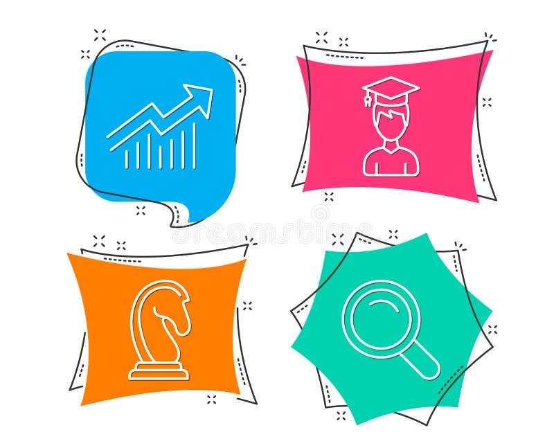 学生,销售方针和需求曲线象 查寻标志 向量例证