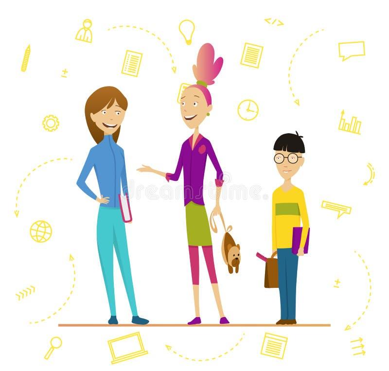 学童和资深学生 男生和女孩有背包和书的,学童画象 主要的孩子 皇族释放例证