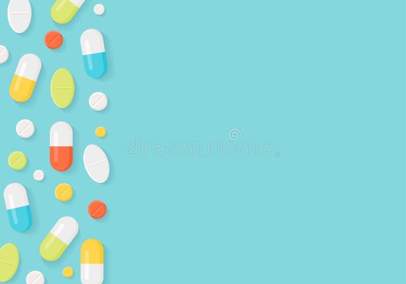 医学药片边界背景 压缩五颜六色的片剂 皇族释放例证