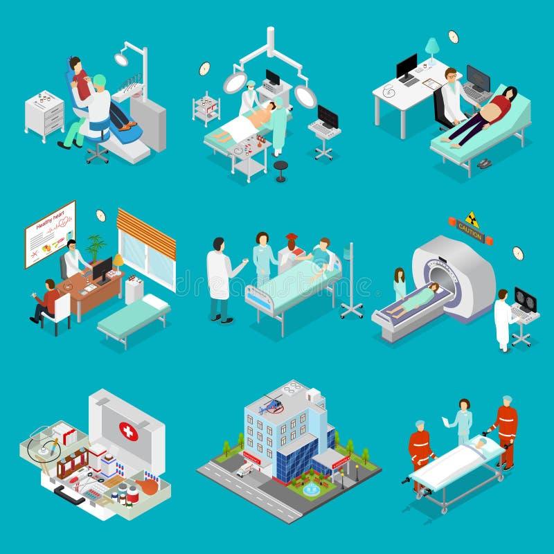 医学设计元素集等轴测图的医生和标志 向量 向量例证