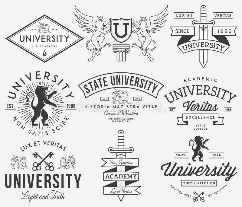 学院和大学徽章黑色 皇族释放例证