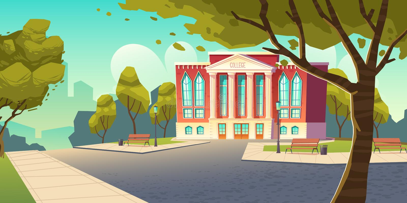 学院大厦,教育机构,学校 皇族释放例证